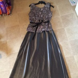 2-Piece Sequin Lace and A-line Satin Skirt Gown